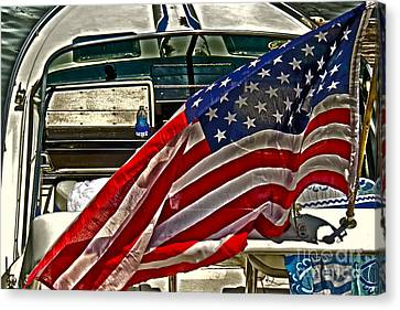 Old Glory And The Bay Canvas Print by Tom Gari Gallery-Three-Photography