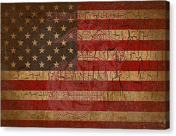 Canvas Print featuring the digital art Old Glory And The Marine Corps by Dawn Romine