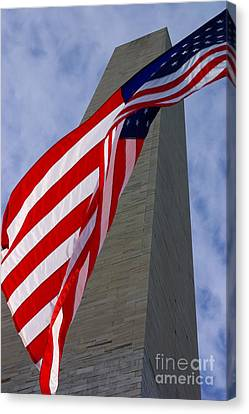 Canvas Print featuring the photograph Old Glory And The Washington Monument by John S