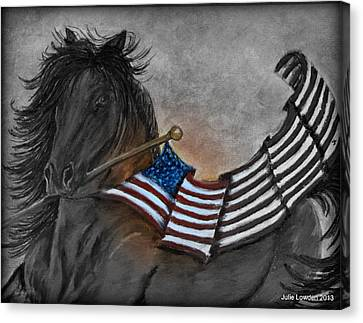 Old Glory Black And White Canvas Print by Julie Lowden
