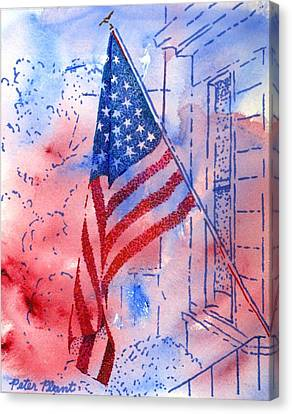 Old Glory In The Neighborhood Canvas Print by Peter Plant
