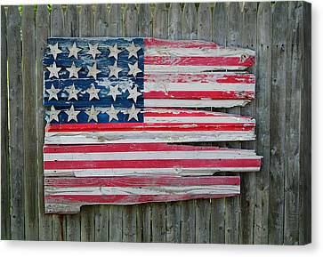 Old Glory In Wood Canvas Print by Jack Daulton