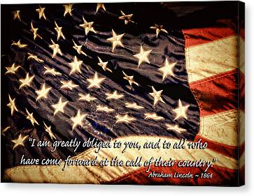 Old Glory Military Tribute Canvas Print by Lincoln Rogers