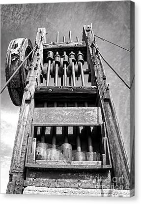 Old Gold Mine Technology In Black And White Canvas Print by Lee Craig
