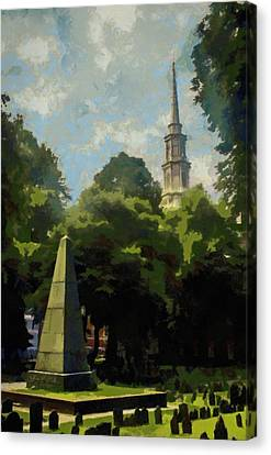 Headstones Canvas Print - Old Granery Burying Ground by Jeffrey Kolker