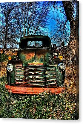 Old Green Chevy Canvas Print by Julie Dant