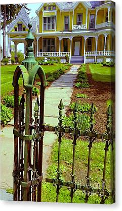 Canvas Print featuring the photograph Old Green Wrought Iron Gate by Becky Lupe