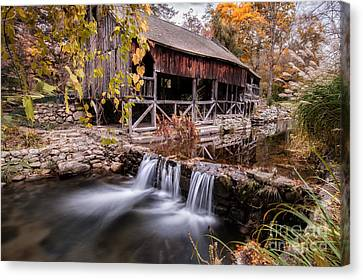 Old Grist Mill - Macedonia Connecticut  Canvas Print by Thomas Schoeller