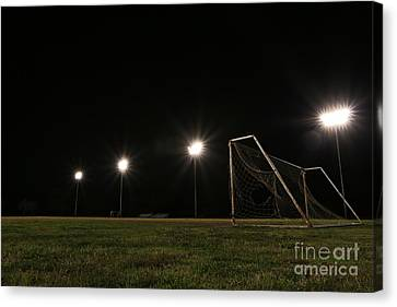 Old Grunge Soccer Goal On A Lit Field At Night Canvas Print