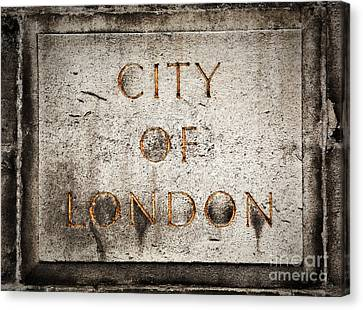 Old Grunge Stone Board With City Of London Text Canvas Print