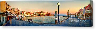 Old Harbour In Chania Crete Greece Canvas Print