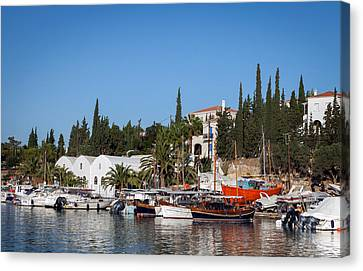 Old Harbour In Spetses Town Canvas Print