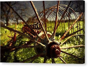 Old Hay Rake Canvas Print by John K Woodruff