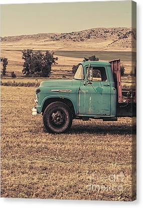 Old Trucks Canvas Print - Old Hay Truck In The Field by Edward Fielding