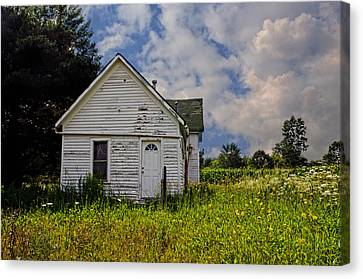 Old House And Flowers Canvas Print by Cheryl Cencich
