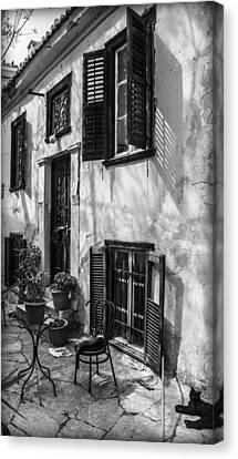 Old House Black And White Canvas Print