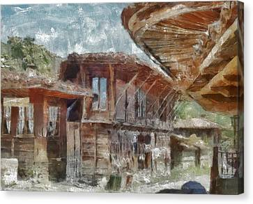 Canvas Print featuring the painting Old House by Georgi Dimitrov