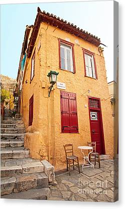 Old House In Athens Canvas Print by Aiolos Greek Collections