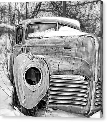 Old Hudson In The Snow Black And White Canvas Print
