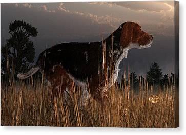 Old Hunting Dog Canvas Print by Daniel Eskridge
