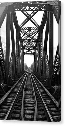 Old Huron River Rxr Bridge Black And White  Canvas Print