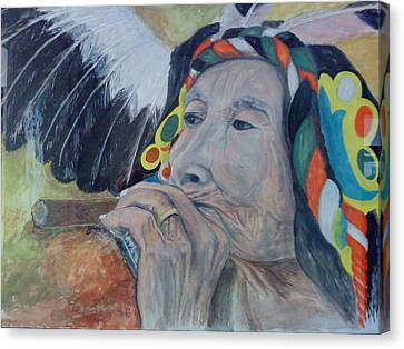 Old Indian Woman Canvas Print by Gani Banacia