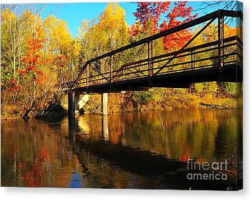 Canvas Print featuring the photograph Historic Harvey Bridge Over Manistee River In Wexford County Michigan by Terri Gostola