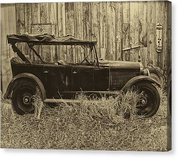 Old Jalopy Behind The Barn Canvas Print by Thomas Woolworth