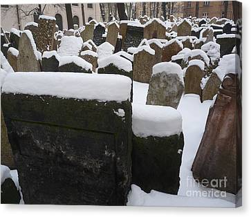 Canvas Print featuring the photograph Old Jewish Cemetery by Deborah Smolinske