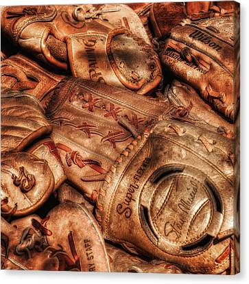 Baseball Glove Canvas Print - Old Leather by Bill Wakeley