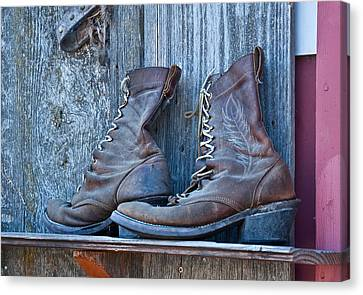 Old Leather Boots Still Life Canvas Print