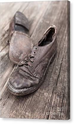 Yesterday Canvas Print - Old Leather Shoes On Wooden Floor by Edward Fielding