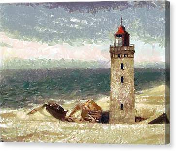 Canvas Print featuring the painting Old Lighthouse by Georgi Dimitrov