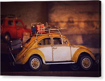 Old Little Yellow Car Canvas Print by Maria Angelica Maira