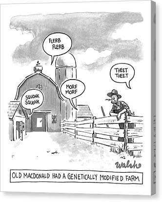 Nursery Rhymes Canvas Print - Old Macdonald's Genetically Modified Farm -- by Liam Walsh