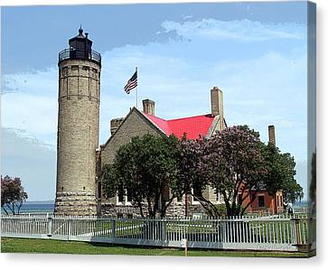 Old Mackinac Point Light Canvas Print by Terri Harper