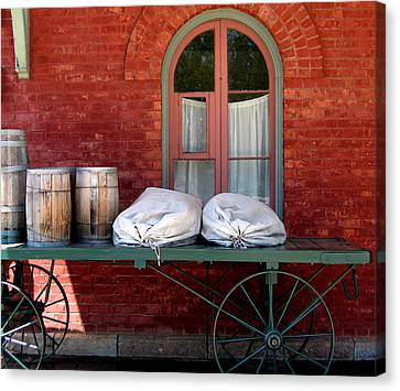 Canvas Print featuring the photograph Old Mail Wagon by Mary Bedy