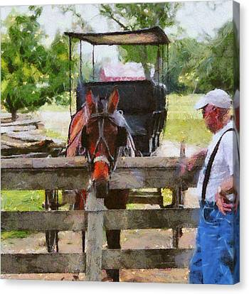 Old Man And His Horse Canvas Print by Dan Sproul
