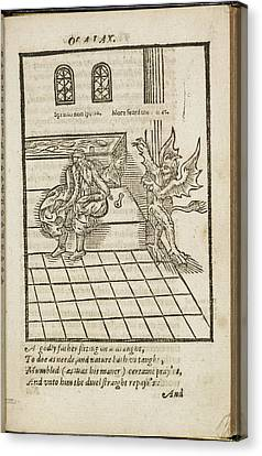 Old Man Bing Startled By A Demon Canvas Print by British Library