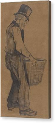 Old Man Carrying A Bucketold Man Carrying A Bucket Canvas Print
