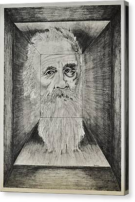 Old Man Head In Box Canvas Print