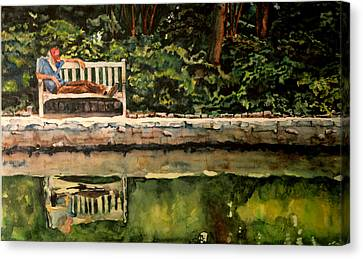 Old Man On A Bench Canvas Print