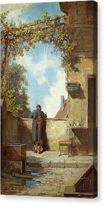 Old Man On The Terrace Canvas Print by Carl Spitzweg