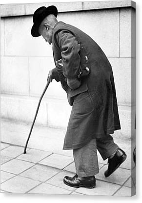 Senior Walk Canvas Print - Old Man Walking With A Cane by Underwood Archives