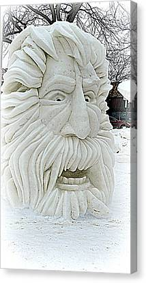 Old Man Winter Snow Sculpture Canvas Print by Kay Novy