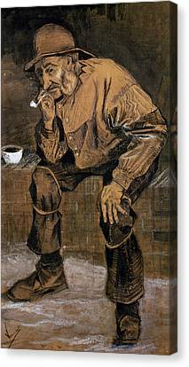 Old Man With A Pipe, 1883 Canvas Print by Vincent van Gogh