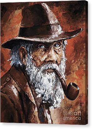 Old Man With Pipe Canvas Print by Emerico Imre Toth