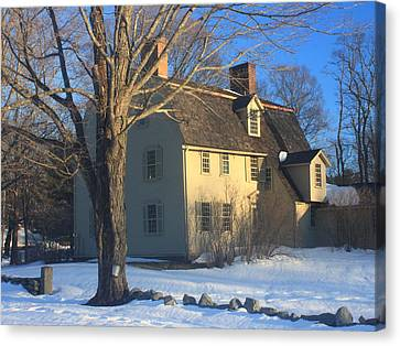 Old Manse Concord In Winter Canvas Print by John Burk