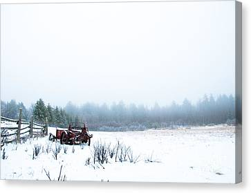 Old Manure Spreader Canvas Print by Cheryl Baxter
