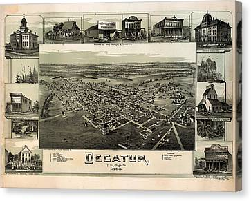Old Map Of Decatur Texas 1890 Canvas Print by Mountain Dreams